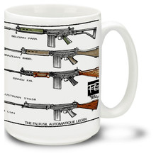 The Fusil Automatique Leger, or FAL light automatic selective fire battle rifle looks great on our FAL coffee mug! FAL mug is a big 15 ounces, dishwasher and microwave safe.