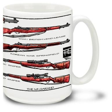 M1 Garand Coffee Mug. Get a Garand Rifle on our M1 Garand mug and enjoy your coffee, tea or hot cocoa in it!