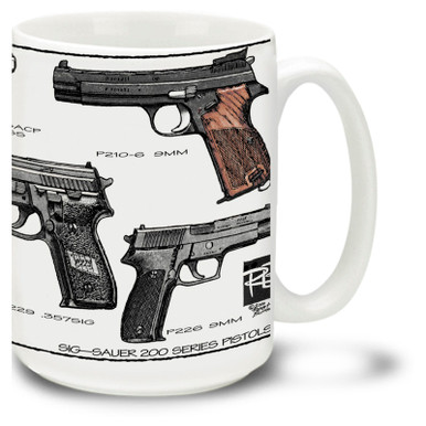 SIG Sauer Coffee mug. SIG Sauer Pistols mug is a big 15 ounces, microwave and dishwasher safe.
