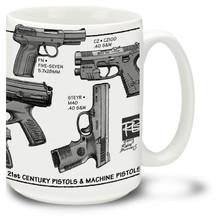 Want a Glock mug? How about a Steyr coffee mug or a Beretta mug? Also a Springfield coffeemug, a Walther mug and Heckler & Koch coffee mug all rolled into one! This innovative modern pistols mug showcases the best of modern hand gun technology.