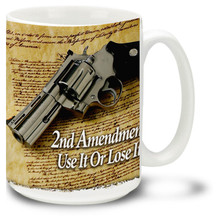 44 Caliber Revolver with Second Amendment - 15oz. Mug
