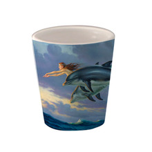 Chasing the Wind Mermaid and Dolphins -1.5oz. Ceramic Shot Glass
