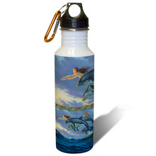 Chasing the Wind Mermaid and Dolphins - 22oz. Stainless Steel Water Bottle