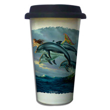 Chasing the Wind Mermaid and Dolphins - 11oz. Insulated Ceramic Travel Mug
