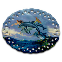Chasing the Wind Mermaid and Dolphins - Ceramic Ornament