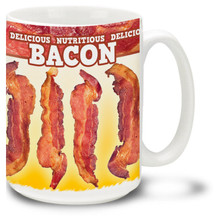 Bacon Mug: Bacon Delicious Nutritious - 15oz. Mug