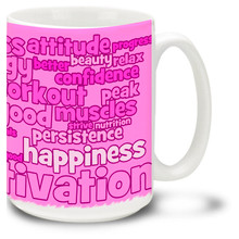 Exercise and Fitness Word Cloud in Pink - 15oz. Mug
