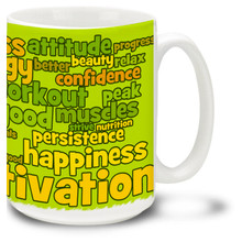 Exercise and Fitness Word Cloud in Green Earthtones - 15oz. Mug