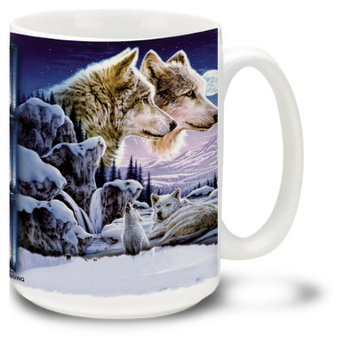 Beautiful wolf pair in the snowy moonlit twilight, with a lonely cub howling for dinner. 15oz coffee mug