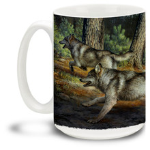 An eager pack of wolves run along the ridge by the river. This wolf pack is hot on the trail! By famed wildlife artists the Hautman Brothers. 15oz coffee mug