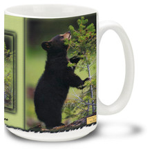 Join this cute little bear on his quest for the perfect tree. 15oz coffee mug is durable, dishwasher and microwave safe.
