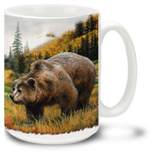 Majestic Grizzly bears roam the mountainside in this beautiful scene.