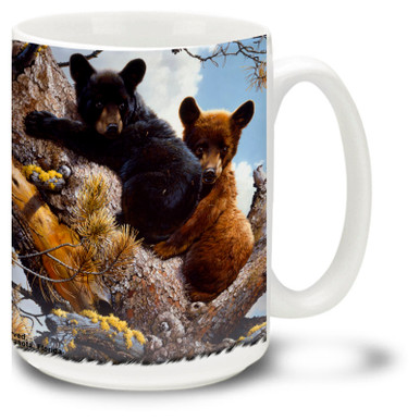 Cute little bear cubs are always looking for adventure.