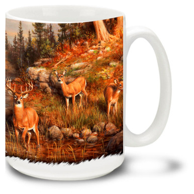 Beautiful Whitetail Deer coffee mug featuring a full herd by the river. - 15oz deer mug is dishwasher and microwave safe.