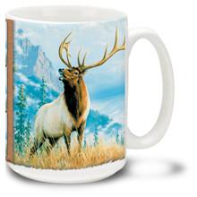 Beautiful Elk against a scenic mountain backdrop