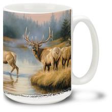Elks in the autumn mist.
