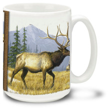 Bull Elks among beautiful mountains and trees.