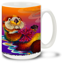 Cute Male Otters on a colorful background.
