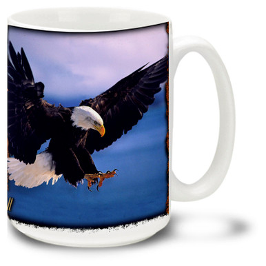 Beautiful Eagle flying against a blue sky background.