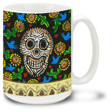 Skull with Birds - Day of the Dead 15 oz. Mug