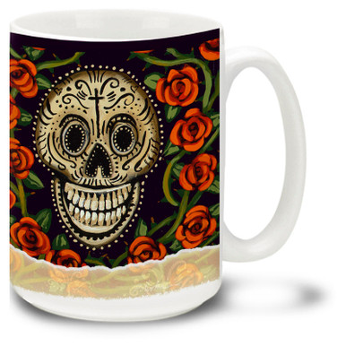 Skull and red roses celebrate the holiday of Día de Muertos, or the Day of the Dead.