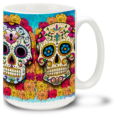 Celebrate the Day of the Dead all year long with this vibrant and colorful sugar skull mug with four different skulls!