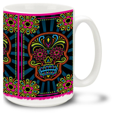 Turn up the volume with the loud colors on this vibrant Day of the Dead sugar skulls mug!