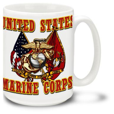 United States Marine Corps Cross Flags coffee Mug features United States of America flag Marines flag. Crossed flags USMC mug features official Marines EGA symbol.