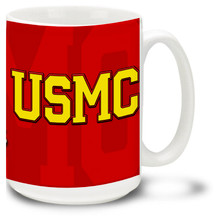 Gold USMC on Red - 15oz. Mug