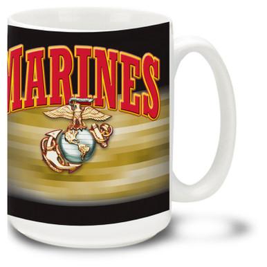 United States Marine Corps coffee mug with Marines text in Bold Red on Black. Marines mug features official USMC EGA symbol.