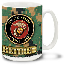 United States Marine Corps Retired coffee mug on Marines Digital Camo. This Marines mug features official USMC emblem.
