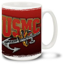 United States Marine Corps coffee mug with Marines slogan Death Before Dishonor. Marines mug is dishwasher and microwave safe.