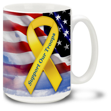 Support Our Troops coffee mug shows support for our United States troops with a Red, White and Blue American Flag. Patriotic Yellow Ribbon mug is dishwasher and microwave safe.