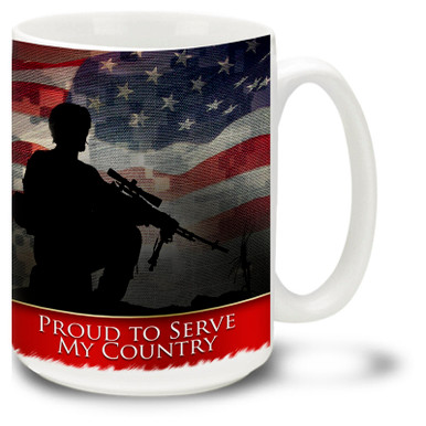 Proud to Serve My Country United States Army Digital Camo coffee mug features the United States Flag as a background. This Proud to Serve mug is dishwasher and microwave safe.