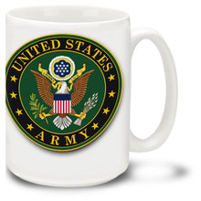 United States Army emblem coffee mug has official U.S. Army insignia on white background. United States Army emblem mug is dishwasher and microwave safe.