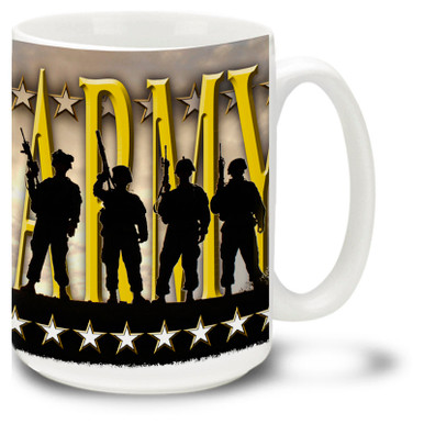 United States Army Silhouettes coffee mug has soldiers in shadow with text Army proudly behind them. Durable Army mug is dishwasher and microwave safe.