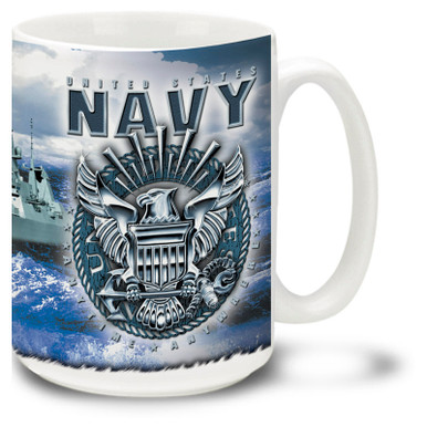 Show your pride in the United States Navy with this Navy mug showing  the USN crest in steel and the Anytime Anywhere slogan. \U.S. Navy Coffee Mug is dishwasher and microwave safe.