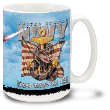 United States Navy mug features the USN Anchor in steel and the Don't Tread on Me slogan plus a dangerous rattlesnake! U.S. Navy Coffee Mug is dishwasher and microwave safe.