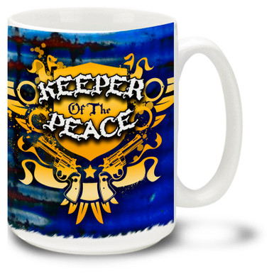 "Peace Keeper Mug featuring Police badge design with ""Keeper of the Peace"" graffiti style art. Peace Keeper Police Coffee Mug is dishwasher and microwave safe."