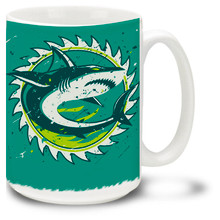 Don't waste your time with more complicated shark mugs! Our simple shark mug features a big, bold shark graphic. Get the Sharknado going strong with one of our shark mugs... Shark Coffee Mug is dishwasher and microwave safe. Personalize it with your name for only $3 more!