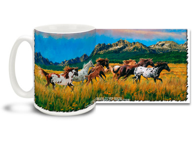 Out on the range with this Paint Horses Coffee Mug! Featuring Majestic Paint Horses, this Horse coffee Mug is dishwasher and microwave safe and features A full-wrap image of horses mug holds 15oz.