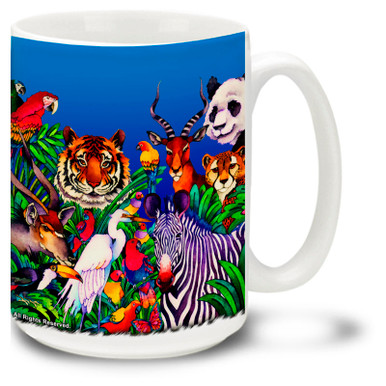 Colorful African Safari Coffee Mug features Tigers, Pandas, Zebras and more. This wild animal coffee Mug is dishwasher and microwave safe and features a colorful watercolor image of endangered animals mug holds 15oz.