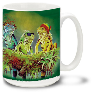 Could there be a better coffee break than one with a colorful Rasta Iguana Coffee Mug? Three iguana friends enjoy a quiet moment, this brightly colored Rasta Iguanas coffee Mug is dishwasher and microwave safe and features a painting of Iguanas mug holds 15oz. of whatever.
