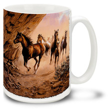 Find your new way with this Sacred Passage Horses Coffee Mug! Features a herd of majestic horses, this Sacred Passage Horse coffee Mug is dishwasher and microwave safe and features a colorful image of horses mug holds 15oz. of your favorite coffee or tea.