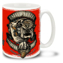 Let the dogs out with a United States Marine Corps coffee mug featuring a rough and tough Marines bulldog. This Marines Bulldog mug is dishwasher and microwave safe and features USMC Bulldog.
