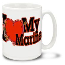 """Show the world you love your Marine with a United States Marines mug that says """"I Love My Marine"""". I Love My Marine mug is dishwasher and microwave safe and features a great big heart!"""