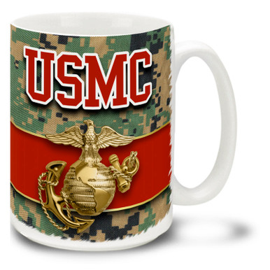 This USMC Eagle Globe and Anchor coffee mug on MCU Camo features a USMC emblem and letters. Marines Emblem mug is dishwasher and microwave safe. Vivid MCU Camouflage with gold USMC logo mug is sure to be a coffee break favorite!
