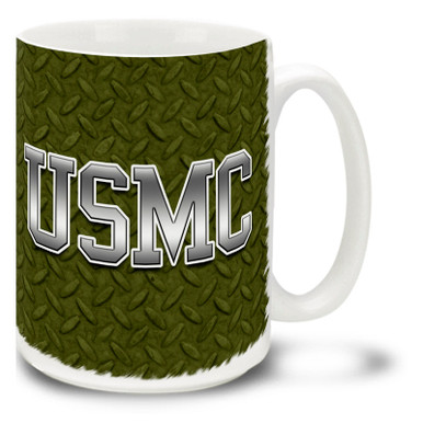 USMC Diamond Steel is a rough and tough USMC mug. This Marines coffee mug on Diamond Steel is dishwasher and microwave safe and features steel USMC logo mug is sure to be a daily coffee favorite!