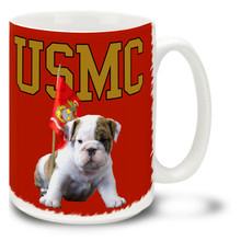 U.S. Marine Corps Bulldog puppy coffee mug. Marines Bulldog mug is dishwasher and microwave safe and features a lovable USMC bulldog puppy mug is sure to be a coffee break favorite!