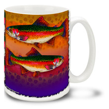 Do you love trout fishing? Then you might love this Colorful Rainbow Trout Coffee Mug? Featuring a colorful trout watercolor, this vivid Trout Mug is dishwasher and microwave safe and celebrates fishing mug holds 15oz. of your favorite beverage.